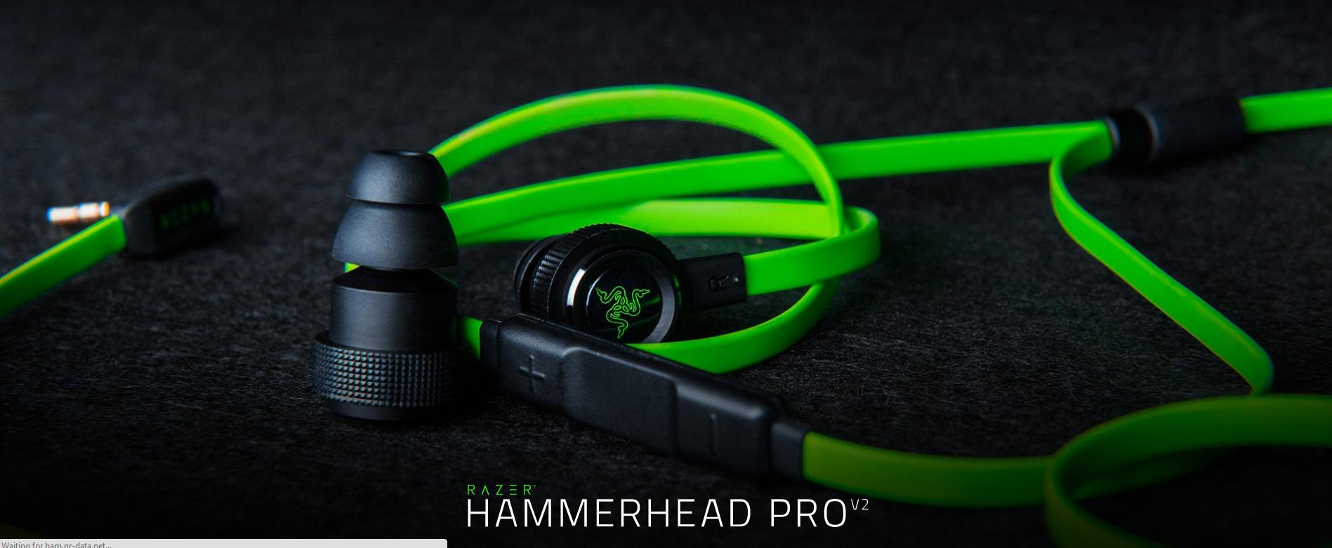 Razer Hammerhead Pro V2 Flat Style Cable With Microphone And Volume In Ear 1