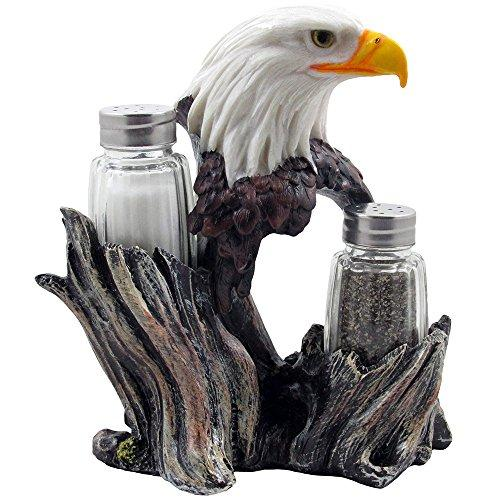 Bald Eagle Glass Salt & Pepper Shakers With Decorative Figurine Display Stand Set For American Patriotic Bar And Kitchen Decor Sculptures Or Rustic Lodge Restaurant Tabletop Decorations And Wildlife Bird Gifts By Home-N-Gifts By Galleon.ph.