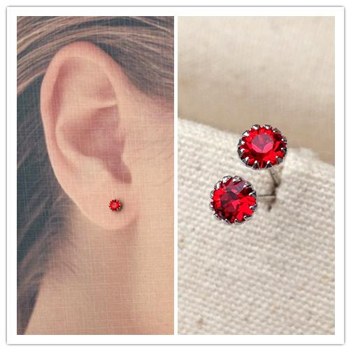 925 perak murni berlian tunggal Merah SAPPHIRE kecil Anting tindik Retro zamrud Jepang Korea Selatan Mini