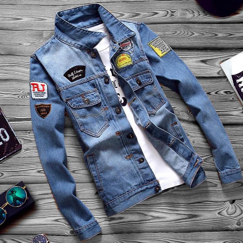 Pakaian Musim Semi dan Musim Gugur jeket Jeans Pria Gaya Korea Retro jaket laki-laki
