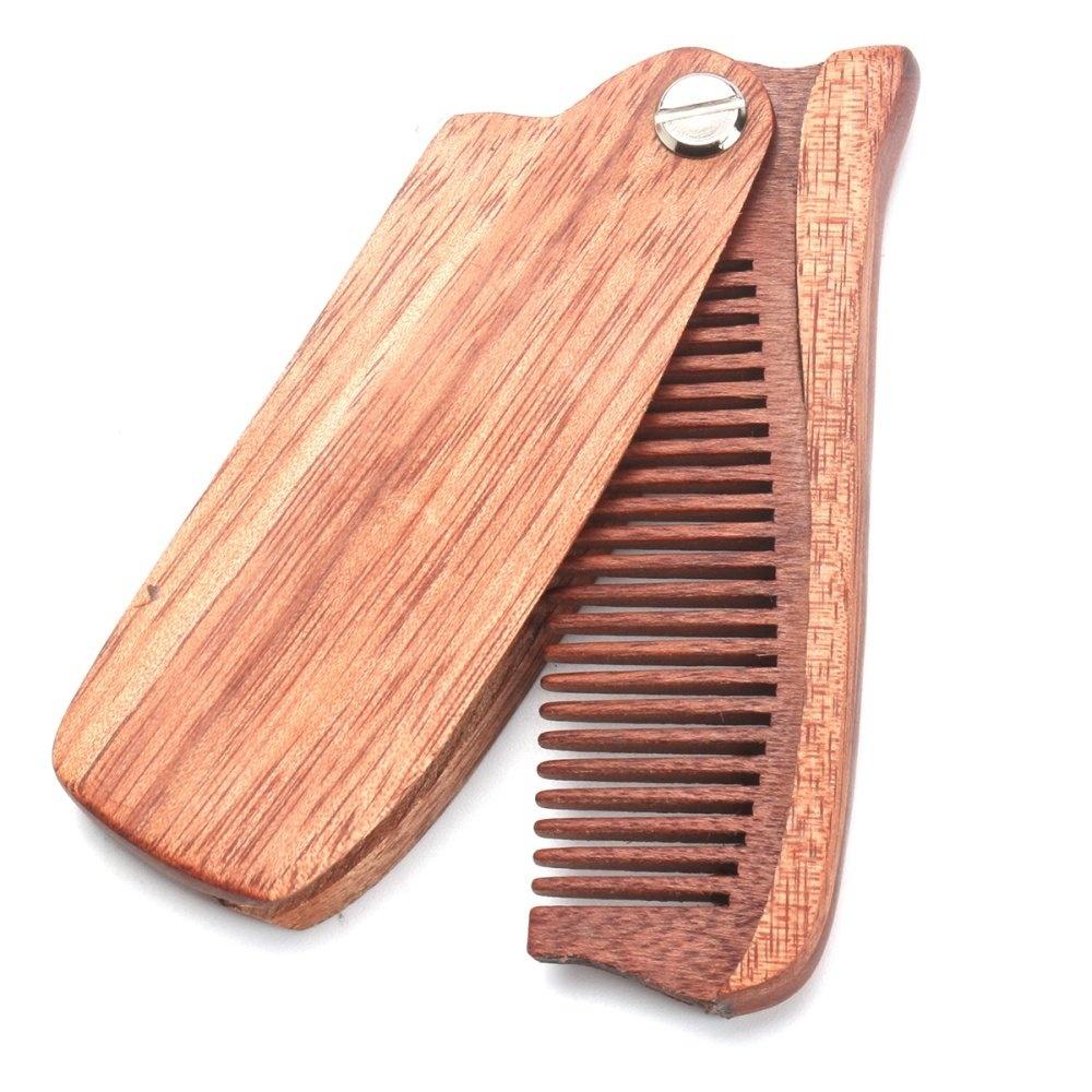 1PC Folding Beard Comb Wood Anti-static Hair Comb Pocket Moustache Comb Q -  intl