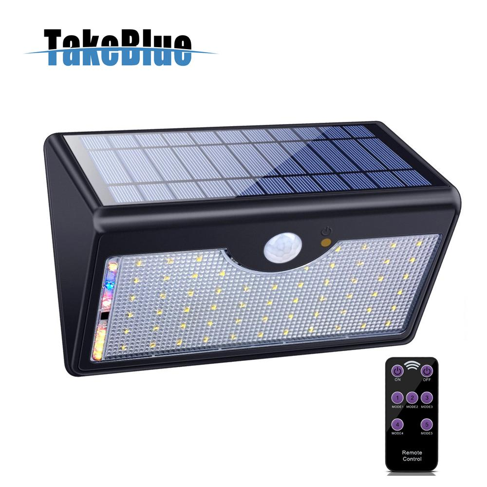 TakeBlue 60 LED Wireless Waterproof Solar Lights Outdoor Mobile with Remote Control Black 1Pack