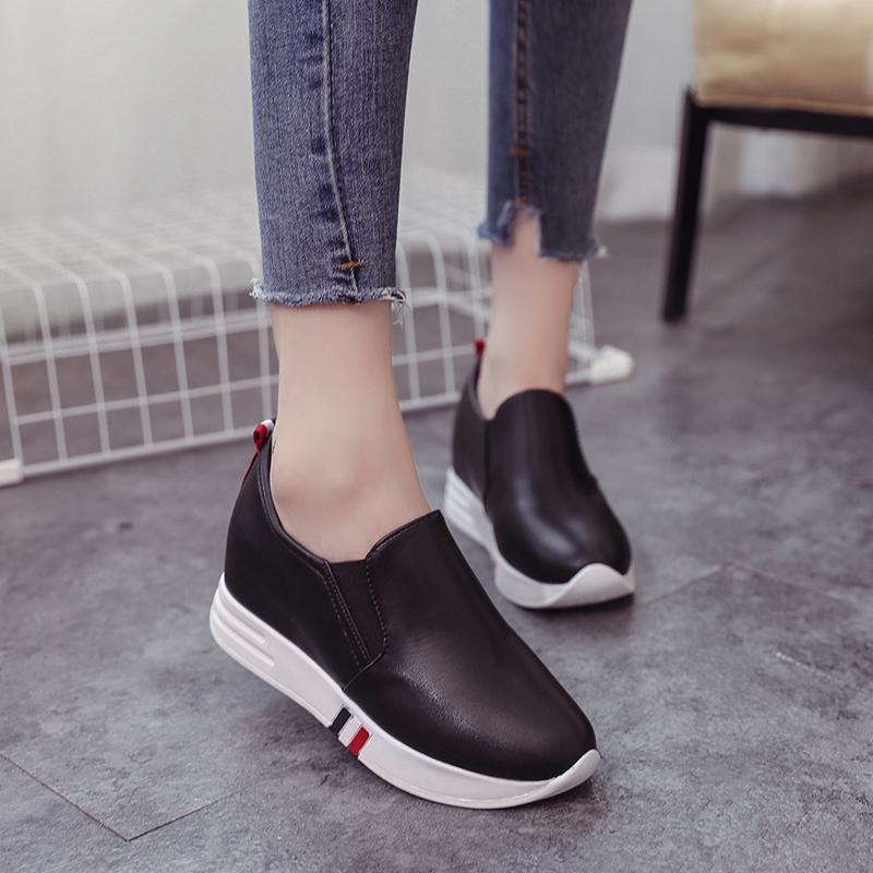 Meningkatkan Sepatu Gao Le Fu Di Dalam 2017 Musim Gugur Wanita Sepatu Wanita Kulit Mie Kasual Sepatu datar Bawah Kecil Sepatu Putih Satu Kaki Deng Orang Malas Sepatu 2 Dolar-Internasional