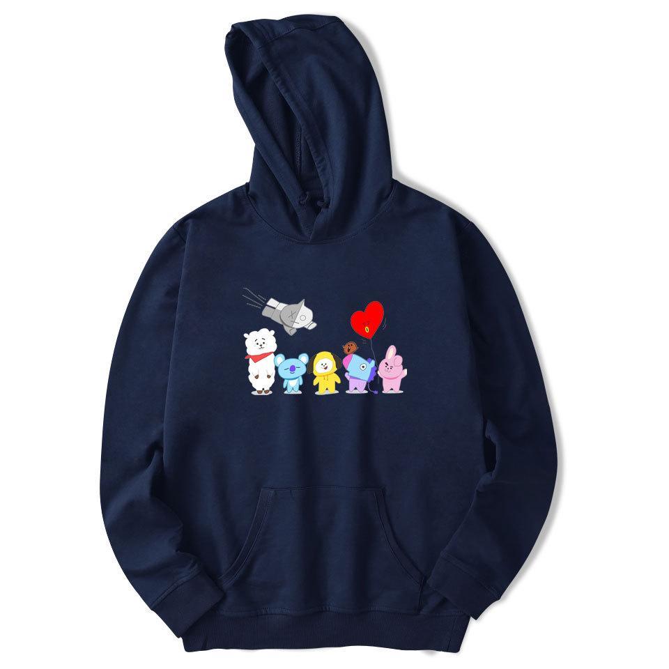 2018 Modis BTS Sweatshirt Hoodie S Kartun Lucu Hewan Longgar Hoodie Sweater Pria Wanita Sweatshit Hoodie