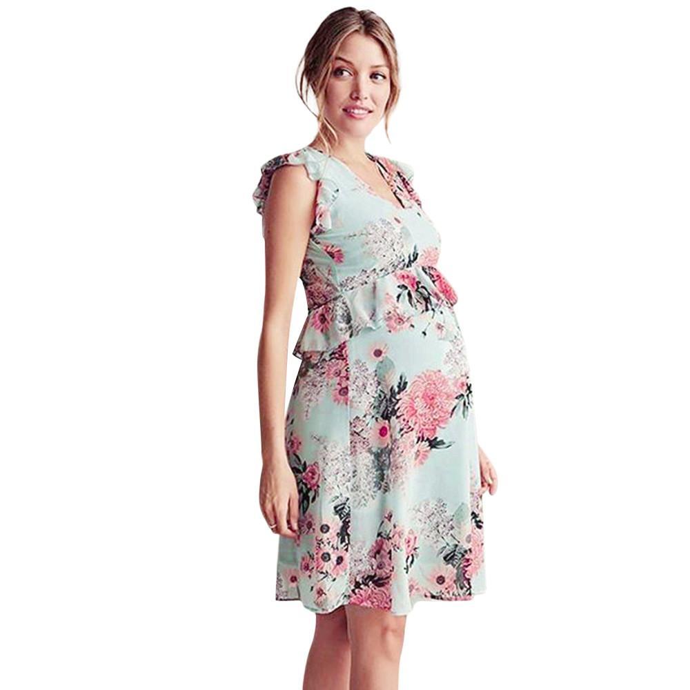 9e8a742209276 OSBORNSHOP Womens Mother Floral Falbala Pregnant Sleeveless Ruffles Dress  Maternity Clothes