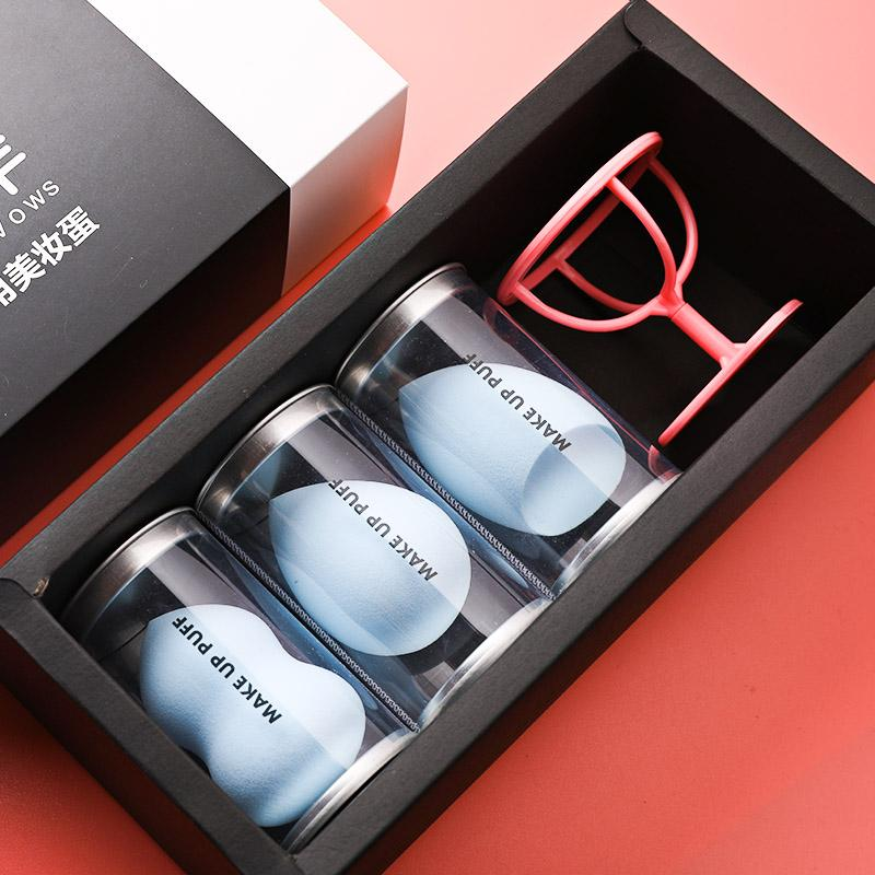 3 dari x1 Kotak Labu Bantalan bedak Penggunaan Basah dan Kering Sepon kosmetik kecantikan peralatan Labu katun Kosmetik kotak Telur Spons Kecantikan