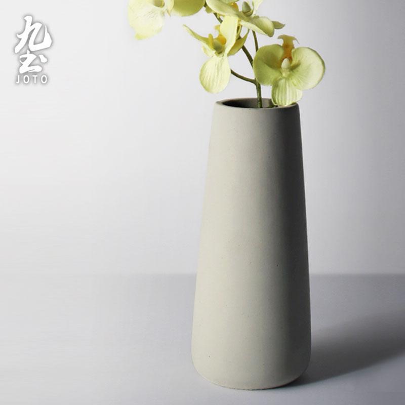 Cement Flowerpot Vase Nordic Minimalist Plant Flower Holder Creative Living Room Straight Flower Arrangement Dried Flower Decoration Home Decoration