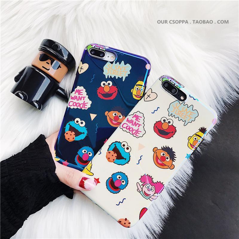 Imut Kartun blu-ray Sesame Street Apple ID X/XR/Max Casing HP iphone7plus sampul lunak 6 s/8 p Model Wanita