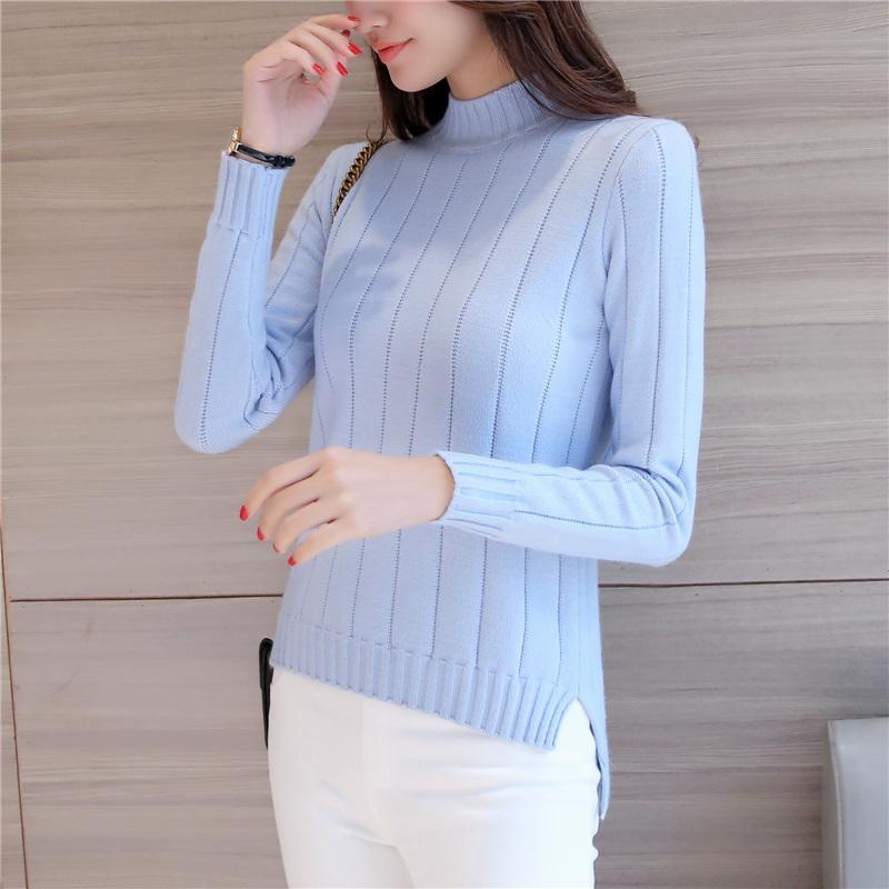Musim gugur musim dingin model baru pakaian wanita Gaya Korea Depan Pendek Belakang Panjang belahan Kemeja rajut Lebih tebal Baju Dalaman kerah setengah tinggi sweaster pulover pasang - 5
