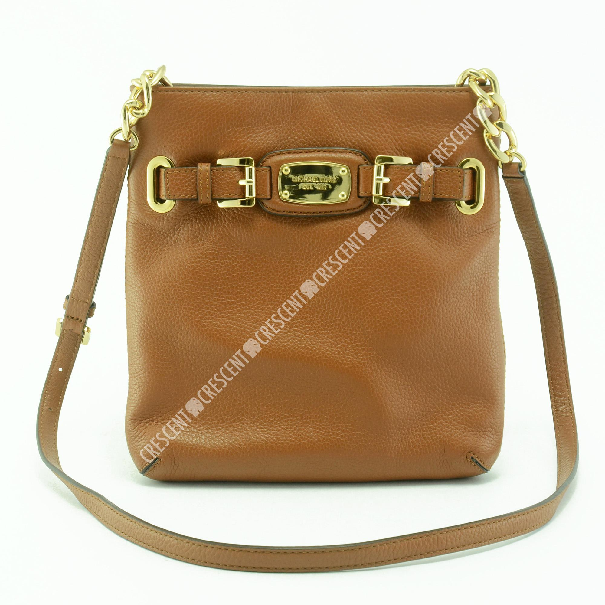 91f31b3f0aa2a3 ... get authentic michael kors hamilton large leather crossbody bag in  brown 344a1 d4deb