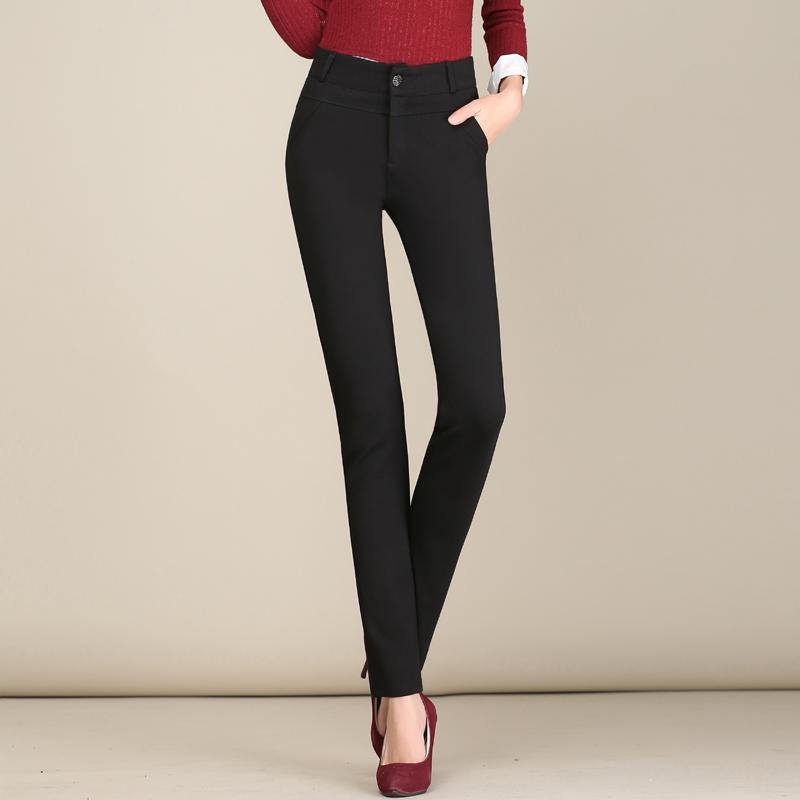 Musim gugur dan dingin Tambah beludru celana kulot celana wanita 2018 model baru ukuran besar Highwaist