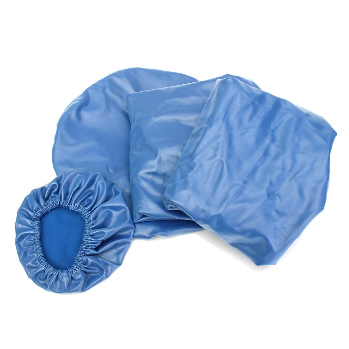 4 Pcs/set Gigi PU Kulit Unit Kursi Klinik Gigi Alas Tempat Duduk Sarung Kursi Elastis Tahan Air Pelindung Case Pelindung, Blue-Intl