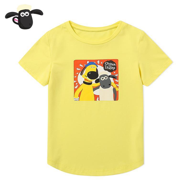 Shaun The Sheep Kaos Musim Panas Baru Kaos Kasual Anak Laki-laki (2T181308 Kuning