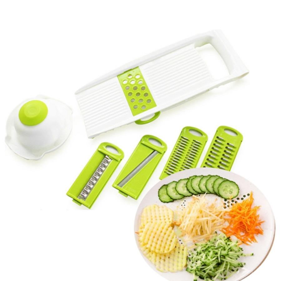 Dropshipping Slicer Vegetables Cutter with 5 Stainless Steel Blade Carrot Grater Onion Dicer Slicer Kitchen Accessories