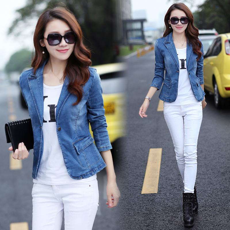 2019 Spring And Autumn New Style Womens Dress Jeans Coat Elegant Slim Fit Slimming Short Small Suit Fashion Korean Style Tops By Taobao Collection.
