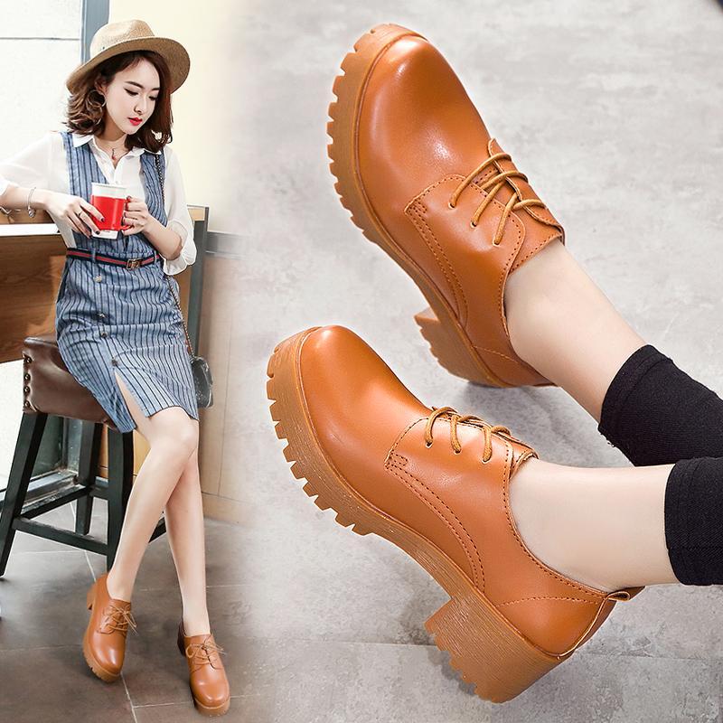 รองเท้าหนังขนาดเล็กหญิงอังกฤษสถาบันลมหนังสีดำหนากับรอบรองเท้ามืออาชีพเอ็นรองเท้า.