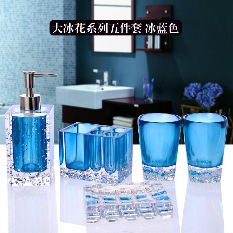 Buy Bathroom Set Five Pieces Set Top Grade Resin European Style Large Size Washed Supplies Wedding Gift Cup Ice Singapore