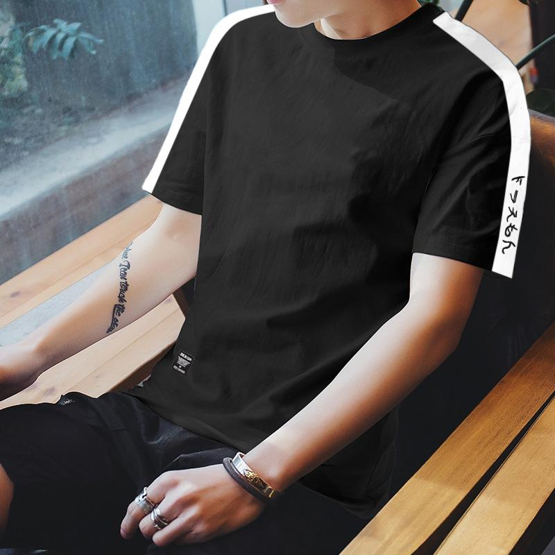 5afc04ca4f5 Summer Men INS Short Sleeve T-shirt Trend Crew Neck Half Sleeve Men s Wear  Korean
