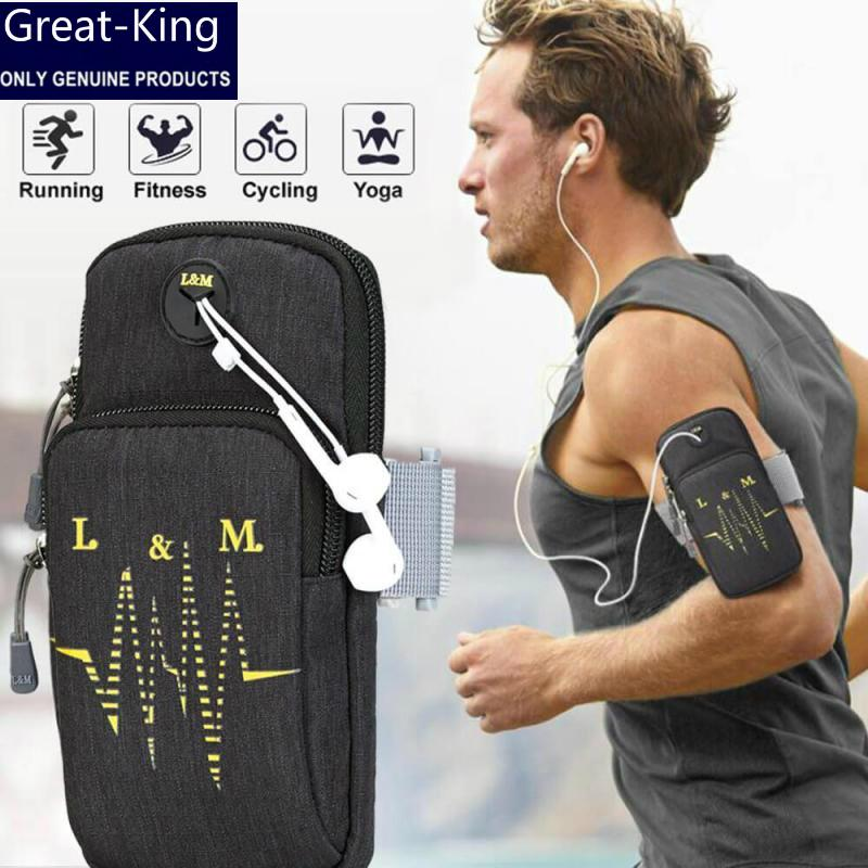 Great-king Sports Armband, Multifunctional Pockets Workout Running ArmBag with Key Earphone Hole for