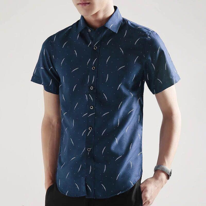 80bc9949 Huilishi Korean-style men short sleeved body type Printed shirt mens shirt  Men Clothing Shirts Formal Shirts