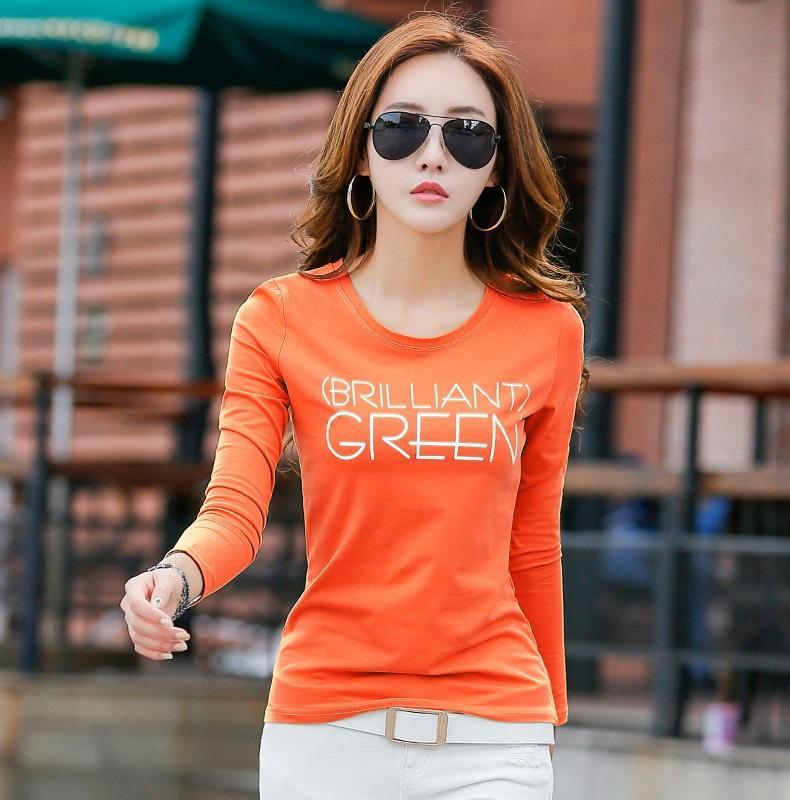 เสื้อยืดผู้หญิง ผ้าฝ้าย แขนยาว ทรงสลิม พิมพ์ลายตัวอักษร สไตล์เกาหลี (สีส้ม)