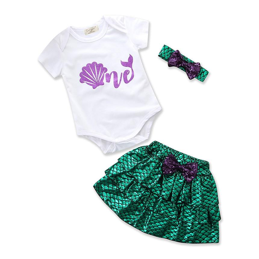 Toddler Girls Summer Clothing Baby Jumpsuits+Green Tutu Skirt+headband Newborn Photography Props Mermaid