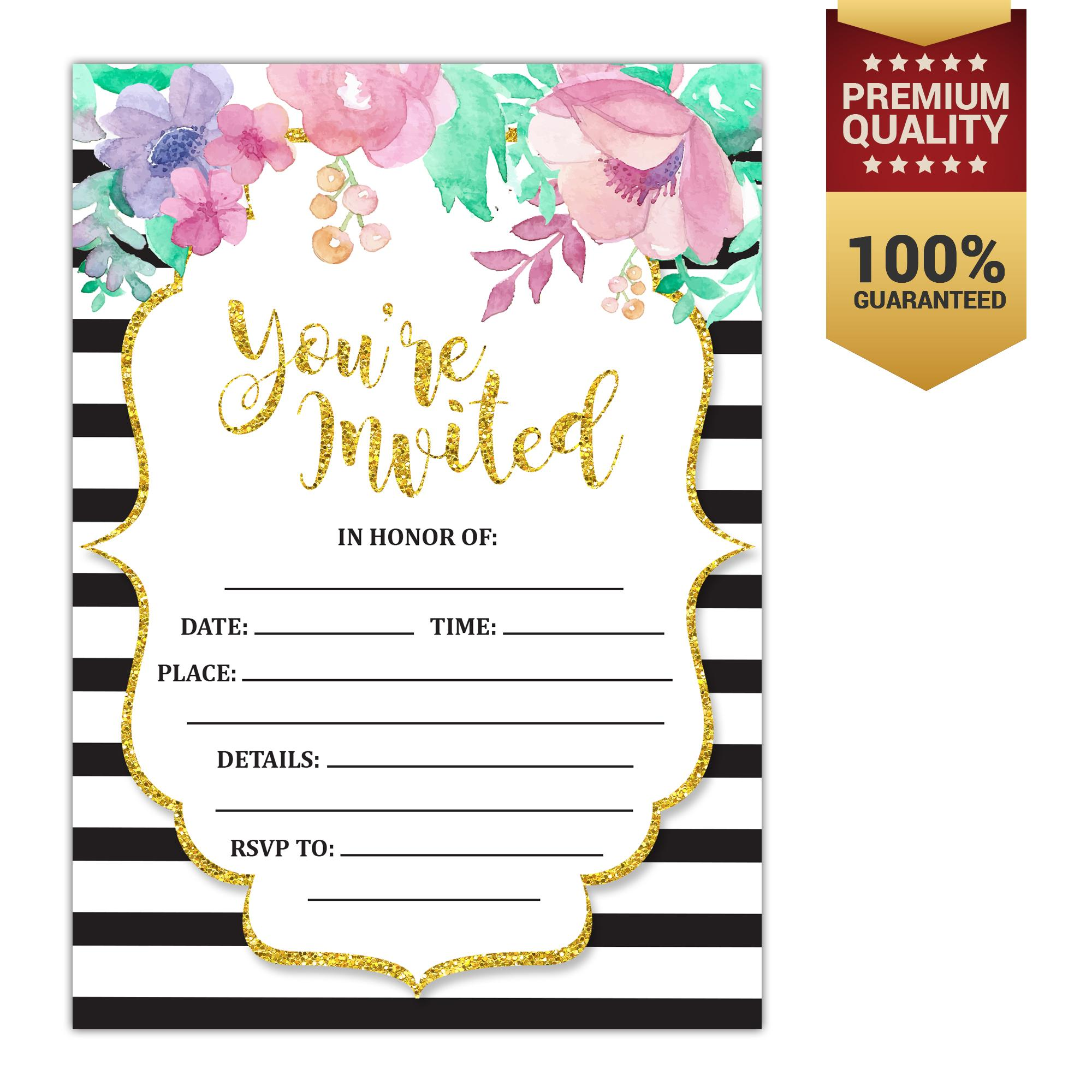 Invitation cards for sale party cards online brands prices vintage floral set of 10 fill in invitations and envelopes for soirees bridal showers stopboris Images