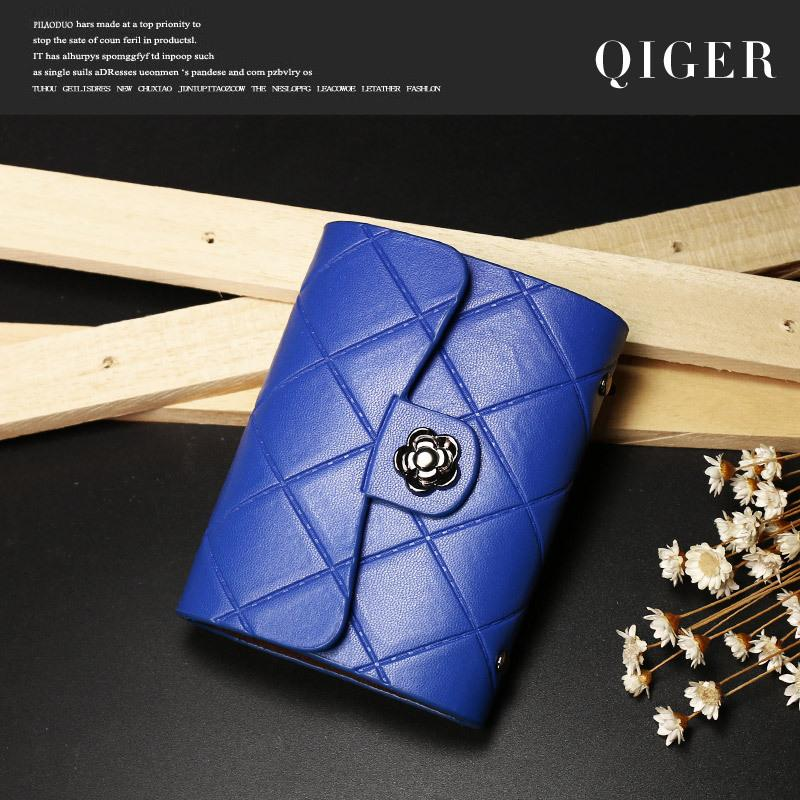 Fashion Brand Genuine Leather Women Card Holder Female ID Credit Card Case Bag Wallet(black