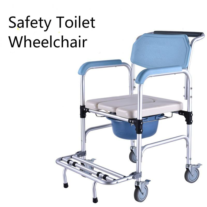 With Wheel Commode Potty Chair The Aged Old Man Sitting Toilet Wheel Chair Multifunctional Aluminum alloy Foldable Movable