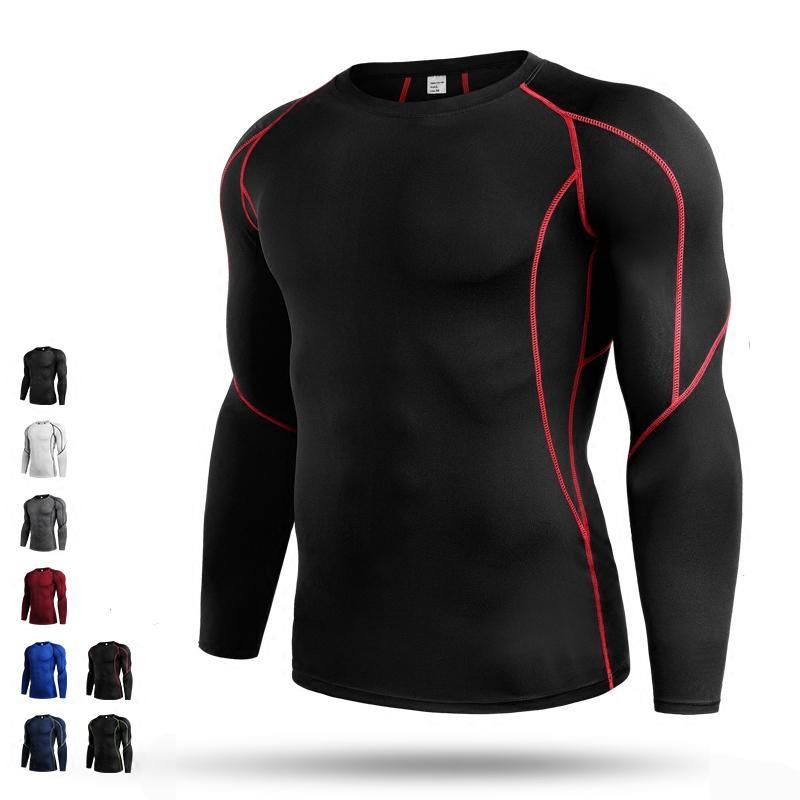 Baju Ketat Pria Musim Gugur atau Musim Dingin Pakaian Latihan Him Kering Elastisitas Tinggi (B5030 ...