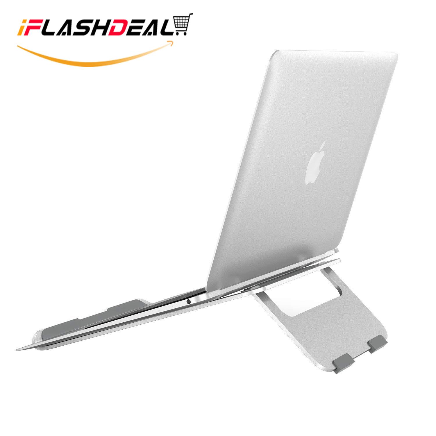 iFlashDeal Laptop Stand, Laptop Notebook Stand, Portable Laptop Stand, Aluminum Cooling Notebook Computer Stand, Aluminum Ergonomic Laptop Riser (Silver)