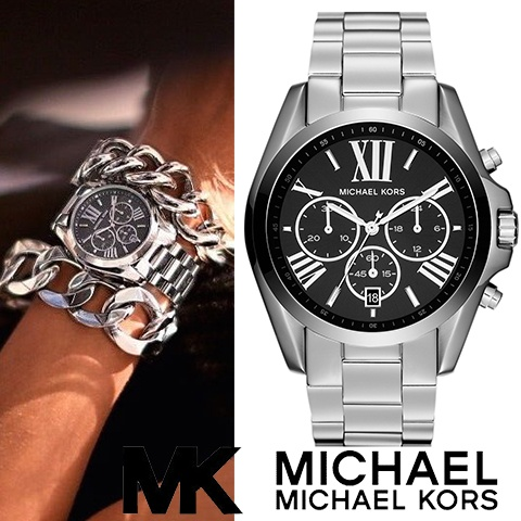 3b8ca5f3d8ce This Michael Kors watch features a black dial set on a polished steel case.  A matching bracelet completes the look.
