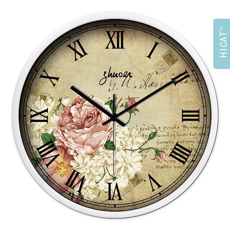 Esunshine 12 Inch Mediterania Eropa Pastoral Negara Retro Ruang Keluarga Jam Dinding Kreatif Hias Minimalis Jam