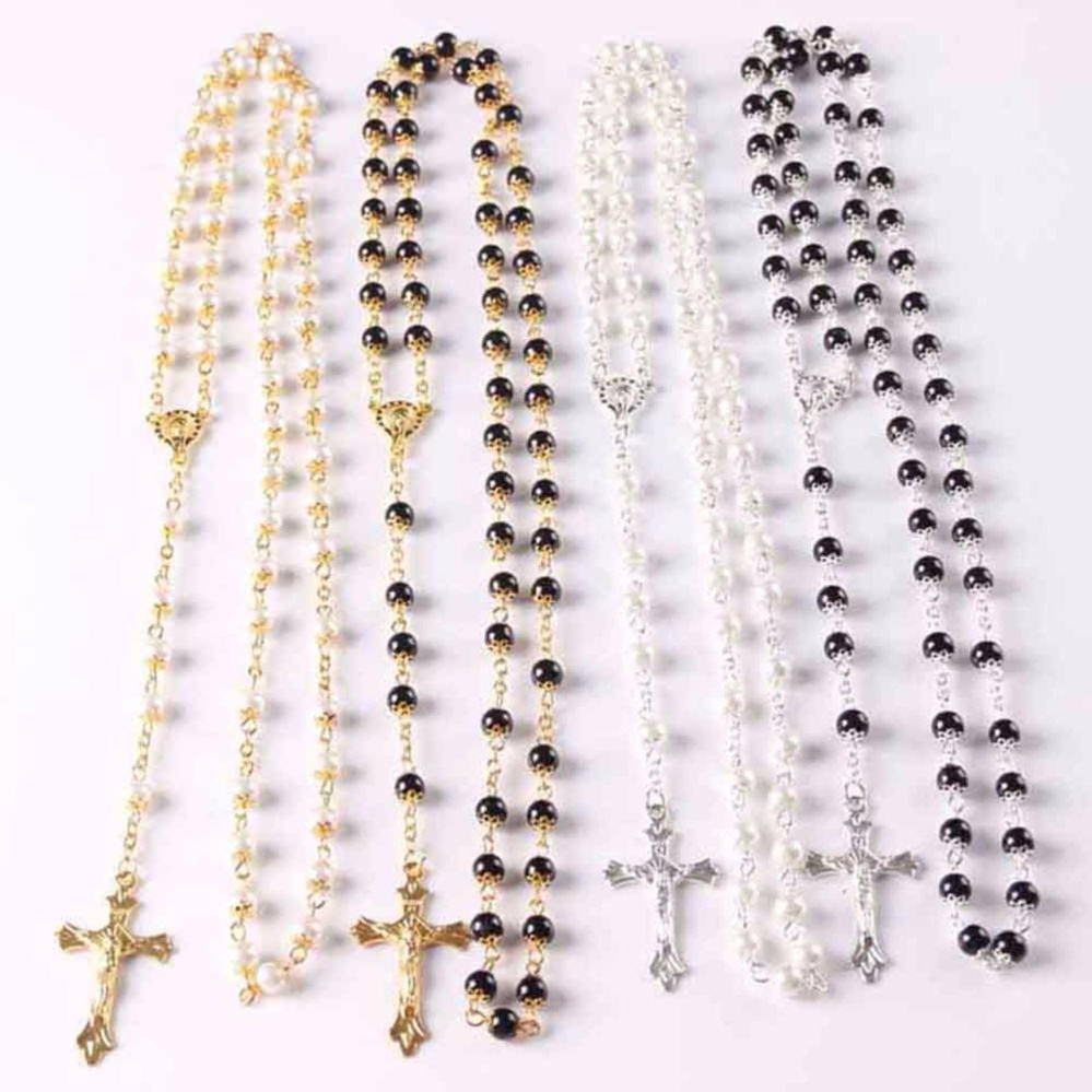 Fancyqube White Black Glass Pearl Beads Catholic Rosary Italy Cross  Crucifix Necklace Gift H01 - intl