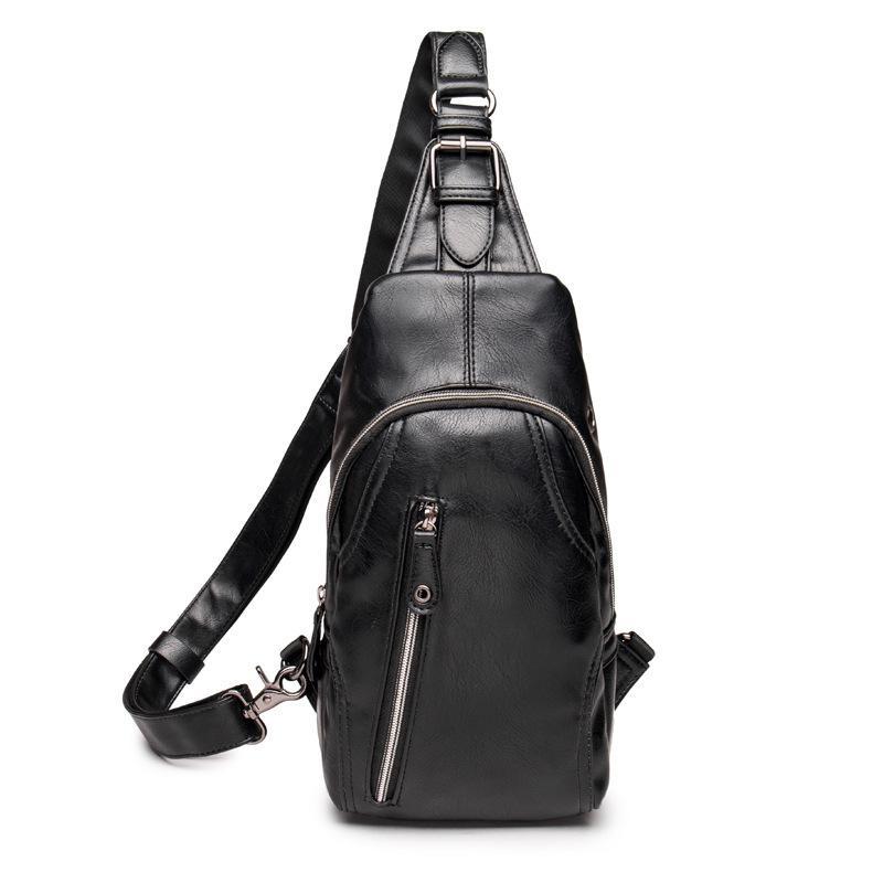 25af659e9028 OEM New Chest Pack PU Leather Men Casual Crossbody Sling Bag Zipper  Unbalance Backpack (Black