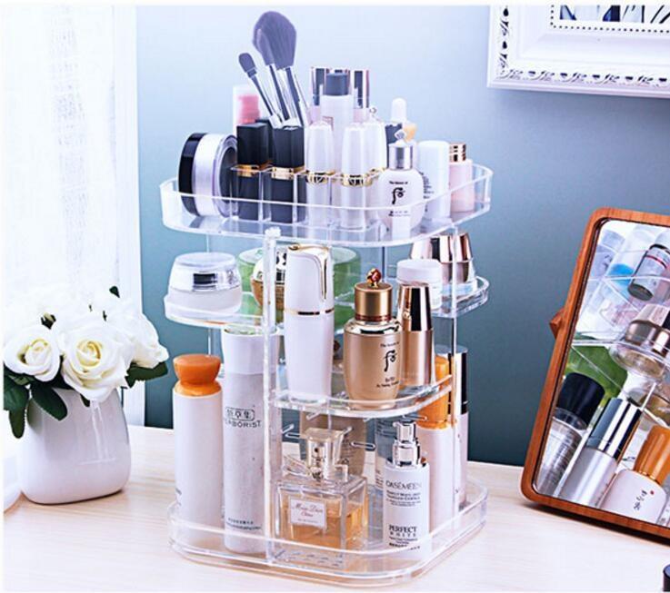 4d9105eafed5 3-Tier Makeup Organizer 360 Degree Rotating Cosmetic Acrylic Storage  Display Box useful Make Up Rack Beauty Care Holder 22cm*32cm - intl