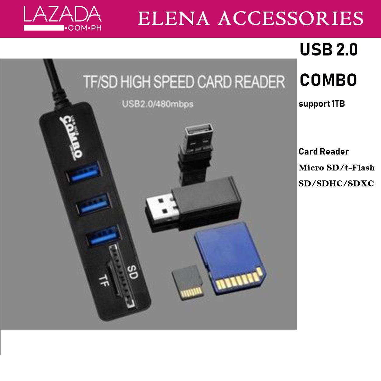 Usb Hub For Sale Port Prices Brands Specs In Power Booster Pc Laptop Elena Accessories Mini 3n1 20 Combo With Universal 2n1 Micro Tf Sd