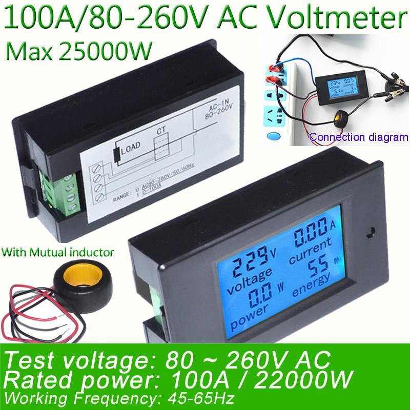 Digital Ac Voltage Meter 100a 80 260v Power Energy Voltmeter Ammeter Multimeter