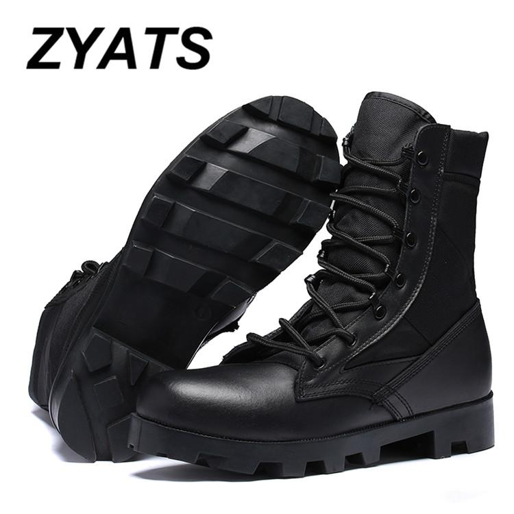 ZYATS New Men New Army Tactical Desert Mens Leather Combat Boots Military Shoes Soldier