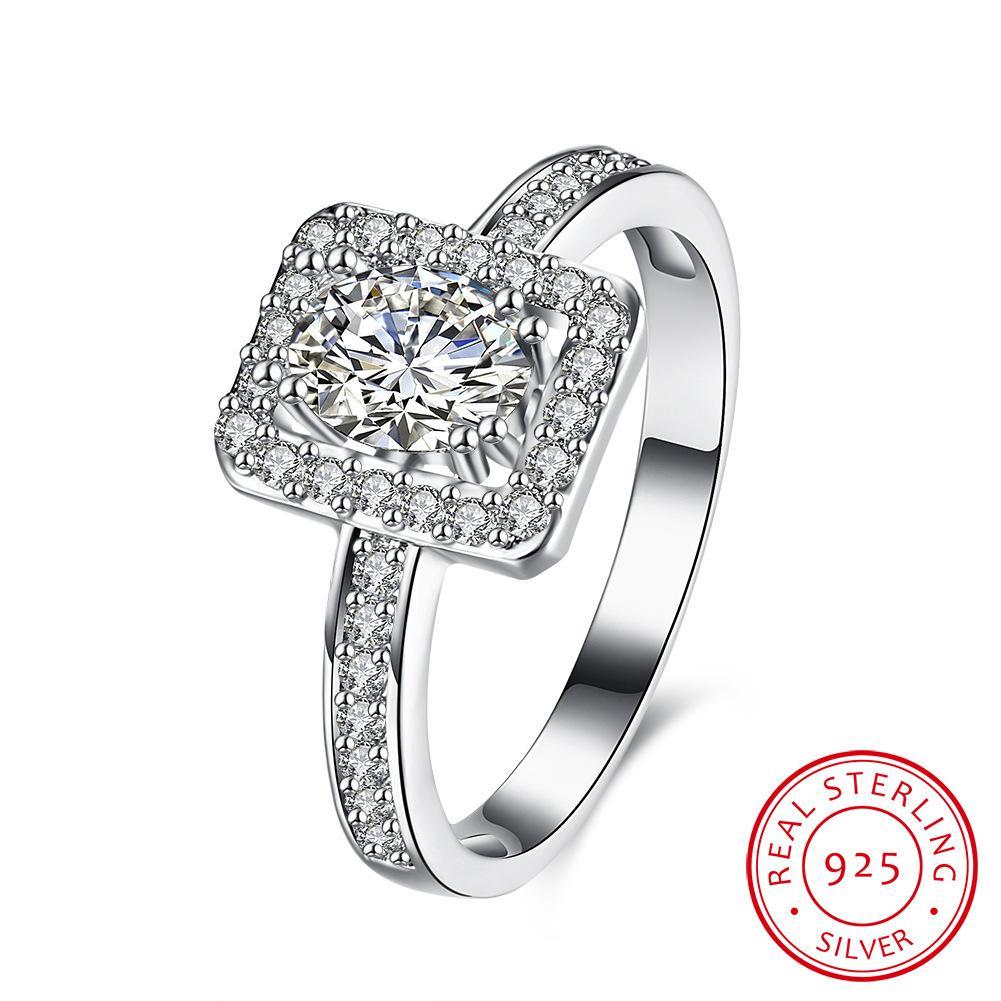 Fashion Jewelry Ss925 Sterling Silver Square Diamond Ring Jual Hot Perhiasan Perak