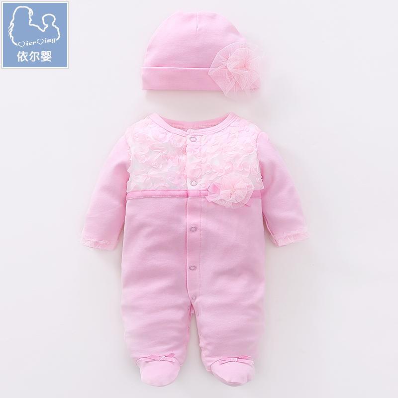 Kapas Bayi Perempuan Baju Bayi Paket Kaki Hari Mendaki Pakaian Romper