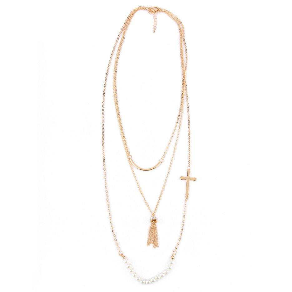 414d6c4d6b7 Hot Sellers Women Simulation-Pearl Cross 3-Layer Long Pendant Dress Chain  Necklace Gift