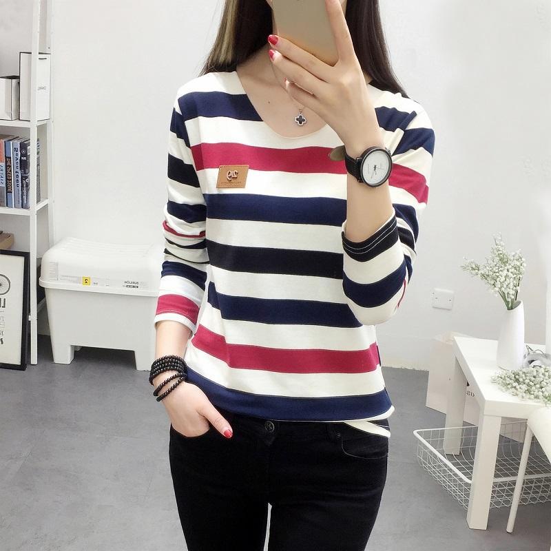 Baju Dalaman Motif Garis T-shirt Lengan Panjang Pakaian Wanita Pakaian Musim Gugur 2019 Baju