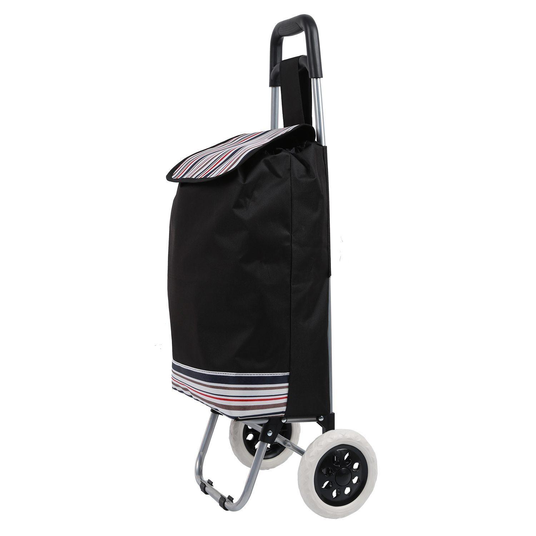 7c632379b5 Large Folding Shopping Trolley Cart Wheeled Rolling Utility Luggage black  Free Shipping
