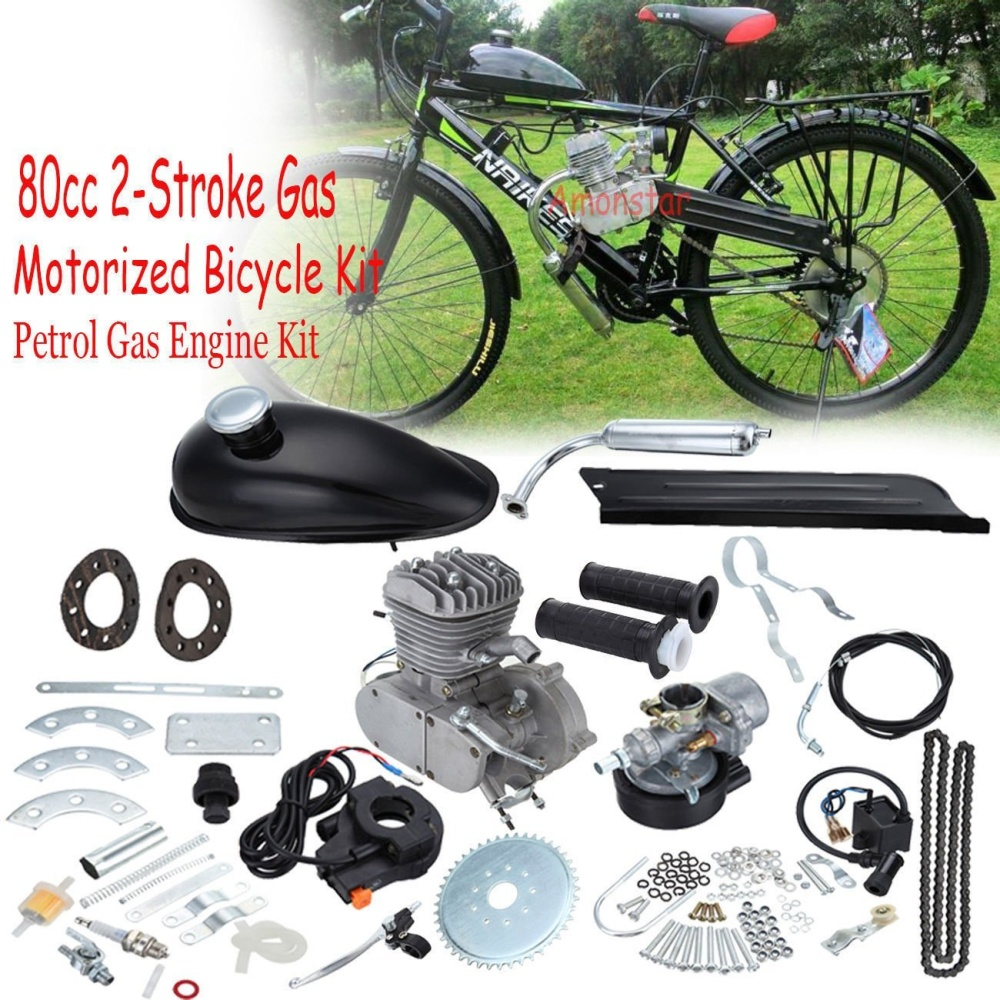 80cc Motorized for Bike Bicycle 2-Stroke Cycle Gas Motor Silver Engine Kit  Set