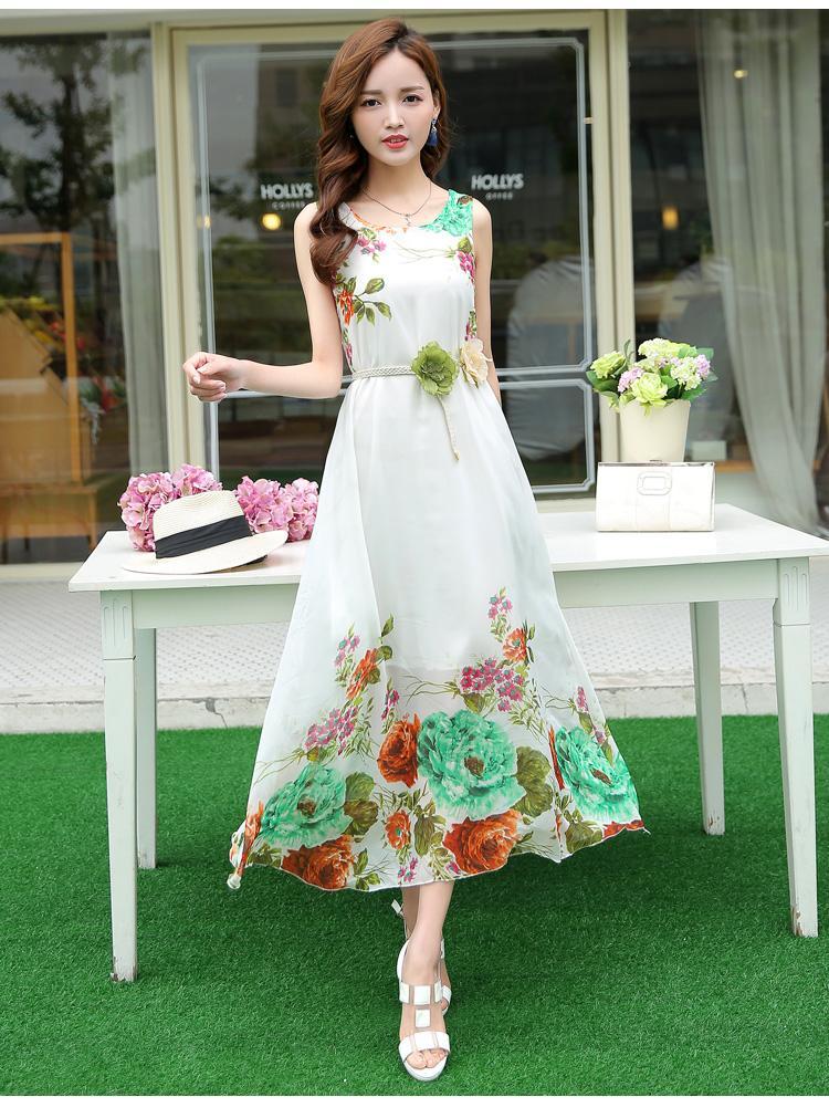 d4f5857de8 D New Fashion Women Chiffon Bohemian Dress Beachwear Travel Dress Korean  Long Slim Floral