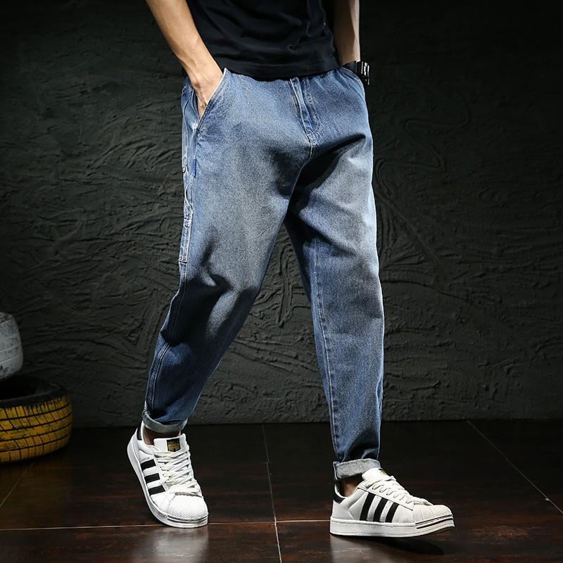 Musim gugur dan dingin model baru celana panjang pria longgar ukuran besar Casual celana jins pria Tren Gaya Jepang Celana Harem celana jeans pria