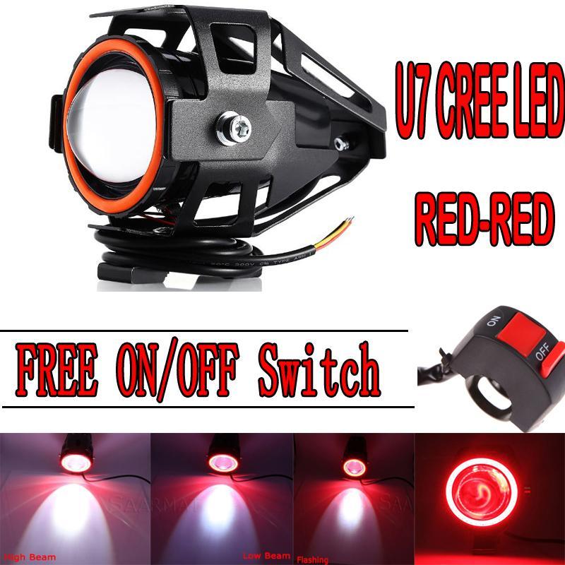 PHP 549. Universal Motorcycle Headlight Motorbike 3000LM Spotlight U7 LED Waterproof Fog Spot Light ...