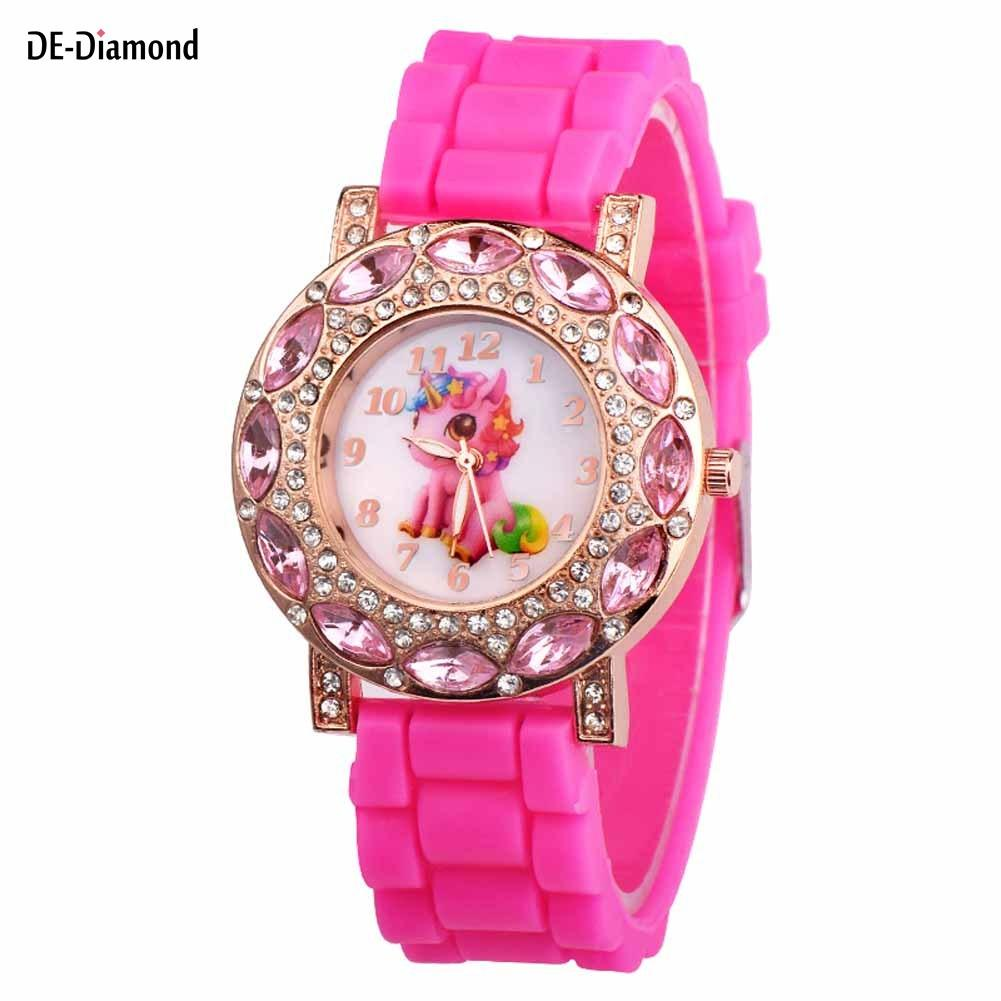 2019 Fashion Cute Girls Animal Unicorn Design Children Watch Quartz Jelly Kids Clock Boys Students Wristwatches Relogio Clock Fine Quality Children's Watches