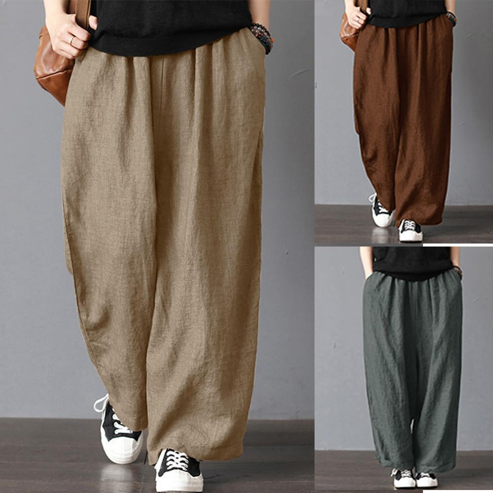 Calvinstore Womens Ladies Casual Flax Cotton And Linen Loose Wide Leg Pants By Calvinstore.